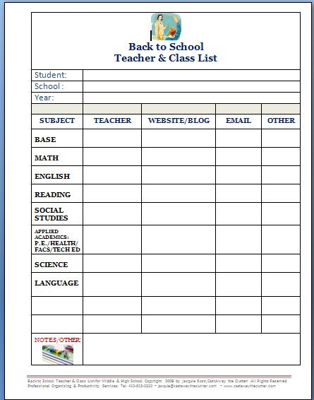 back to school forms and checklists, free forms ... Organized Student Binder